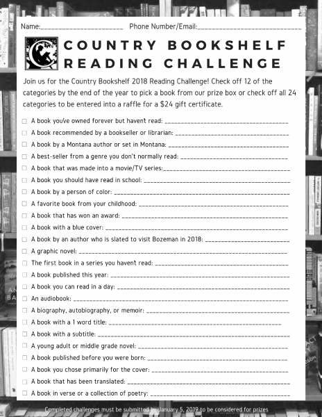 country bookshelf reading challenge 2018